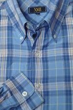 XMI Men's Isle Blue Plaid Check Cotton Casual Shirt L Large