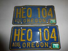 Oregon 1978 License Plate Expired 2 Plates