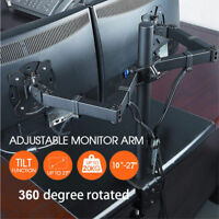 Dual HD LED Desk Mount Monitor Stand 2 Arm Display Bracket LCD Screen TV Holderp