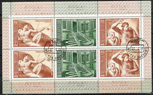 Russia Art Michelangelo Famous Vatican Paintings Souvenir Sheet 1975 B-5