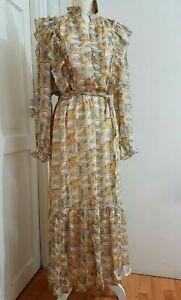Long Ruffle Dress Layered Puff Sleeve UK 10