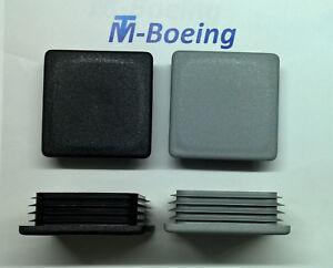 Lamellenstopfen Endkappen Stopfen Gleiter f. Quadrat-Rohr 80x80 grau + schwarz
