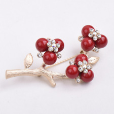 Blossom Wedding Bridal Bouquet Brooch Pins Women Vintage Alloy Red Crystal Plum