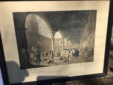 RARE 18TH CENTURY Print HAND COLORED View of the inside of the royal exchange.