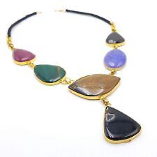 Natural Stone Druzy Chakra Healing Raw Gemstone Pendant Gold Plated Necklace