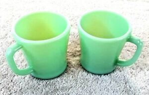 "Vintage Antique Fire King Green Jadeite 12 oz Coffee Tea Cups 3.5"" Mid Century"