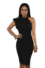 new black ruffle one shoulder knee length bodycon dress size 8,10,12,14