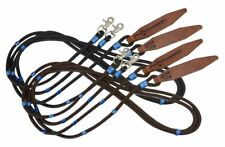 Showman 8' Braided Nylon Reins w/ Leather Poppers