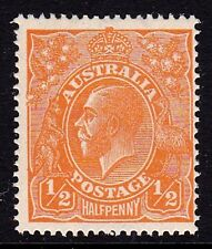 Australia 1923 King George V 1/2d Orange Single Wmk Variety 66(7)g MNH