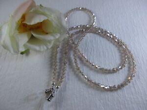 "GLISTENING CHAMPAGNE 27"" Czech Bi-Cone Crystal Beaded Eyeglass Chain~Holder USA"