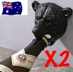 x2 Bear Head Wall Mounted Bottle Opener Beer Bar Corona Iron Heavy Duty Heineken