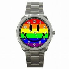 Rainbow Flag Smiley Gay and Lesbian Pride LGBT Stainless Steel Watch