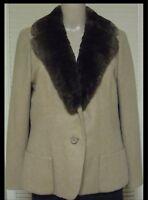 VTG 90s CAMEL HAIR WOMEN'S JACKET ~SHEARED BEAVER COLLAR~ JAYWEIN, NYC  Sz 6-8