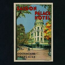Palace Hotel SAIGON Vietnam * Old Luggage Label Kofferaufkleber like DAN SWEENEY
