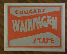 ORIGINAL VINTAGE WASHINGTON STATE COUGARS LABEL DECAL LUGGAGE TRAVEL AUTO OLD RV