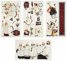 15 Pc Reusable Peel & Stick Chefs Wall Decal Sticker Set For Kitchen Decoration