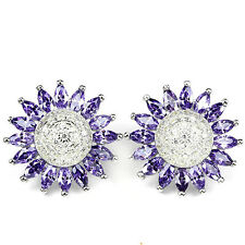 Sterling Silver 925 Genuine Natural Amethyst Daisy Design Stud Earrings