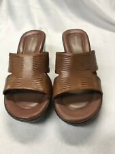 Naturalizer Brown leather slides/sandals size 7 M With 2.5 inch heel
