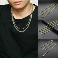 Men's Fashion Necklace Chain Twist Rope Curb Link Titanium Steel Twist Chai I4S3