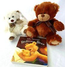 Bedtime Bear Gift - 2 Teddy Bears & Bedtime Bear Book  Gift Baby Shower Soft Toy
