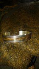Tom Hawk Navajo Sterling Silver & Gold Fill Ribbed Cuff Bracelet