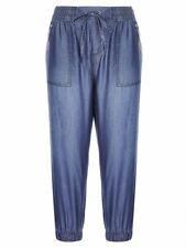 Crossroads 3/4 Elastic Waist Chambray Pants Blue Denim Like Size 18 Free post