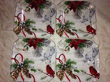 222 Fifth Set Of 4 HOLIDAY WISHES Salad Square Plates Christmas Cardinal