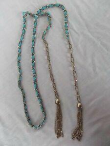 vtg tie belt M L tassel tassle gold chain link turquoise western medieval MINT