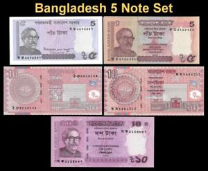 BANGLADESH 5 NOTE SET 🌎💴 UNCIRCULATED 🕌 All Different 🕌