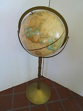"Vintage CRAM'S 12"" IMPERIAL WORLD GLOBE FLOOR STAND 1990's retro 32"" tall"