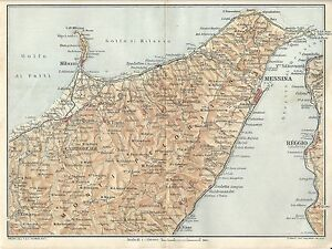 Carta geografica antica STRETTO DI MESSINA Sicilia TCI 1919 Old antique map