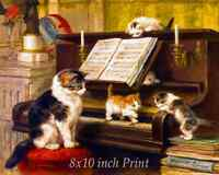 The Piano Lesson by Henriette Ronner-Knip - Cat Kittens Playing 8x10 Print 2752