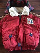 Osh Kosh B'Gosh Winter Jacket  Parka Red w/ Navy & Brown  Fleece Plaid    M 3T