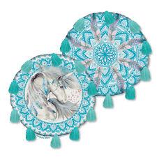 Mystic Spirit Unicorn Round Cushion Pillow w/ Teal Tassels by Lisa Pollock