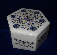 Hexagon The Jewellry Box Lapis Inlay Beautiful Handmade Trinket Box Decorative