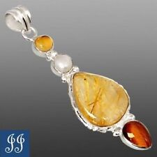 GOLDEN RUTILE, PEARL, CITRINE & TIGER'S EYE STERLING SILVER PENDANT & FREE CHAIN