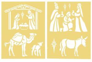"Darice Reusable Christmas Nativity Stencils, 8.5"" X 11"", 2 Sheets"