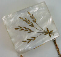 Lucite Powder Compact Hinged Lipstick 1950s Wrist Chain Carved Wheat Puff Sifter