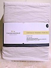New - Threshold Vintage Washed Percale Sheet Set 3 pcs. ( size: twin ) Cream