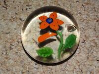 Paperweight Art Glass Murano Style  Flower