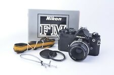 EXC+++ NIKON FM BLACK BODY 35mm SLR w/50mm F2, UV, STRAP, CR, MANUAL, ACCURATE!