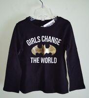 NWT Old Navy Girls 12-18 MOS 2T 3T Long Sleeve Batman Batgirl Shirt BLACK #28818