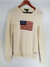 Ralph Lauren Women L Pull Over Cotton Knit American Flag Sweater Vintage Creme