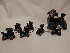 Vintage Redware Black Poodles Figurines Mama & 6 Puppies Chained Mom Pups