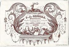 """""""Porzellankarte"""", Geschäftskarte des Apothekers F. J. Somers in Gent, um 1840"""