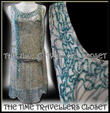 BNWT KATE MOSS TOPSHOP GREEN IVORY EMBELLISHED SCALLOPED FLAPPER DRESS UK 6 8