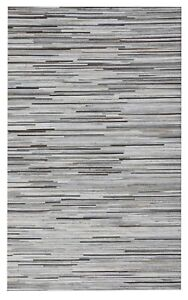 Cowhide Multi Striped Patchwork Home Decor Living Area Hand Made Leather Rugs