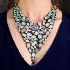 Opal CHOKER NECKLACE Tsavorite Gemstone 14K Gold 925 Silver Diamond Pave Jewelry
