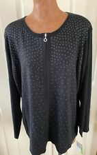 C.D. Daniels 1x Zipper Sweater Black With Silver Studs  New With Tags