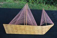 Vintage Tramp Art Folk Art Match Stick Prison Art Ship